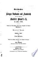 Geschichte des Krieges Russlands mit Frankreich unter der Regierung Kaiser Paul's I im Jahre 1799