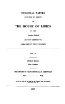 Sessional Papers Printed By Order Of The House Of Lords Minutes Of Proceedings Public Bills Reports From Committees Miscellaneous