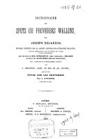 Dictionnaire des spots ou proverbes wallons
