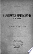 Manchester Bibliography For 1883 A Paper