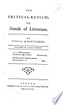 The Critical Review  Or  Annals of Literature Book