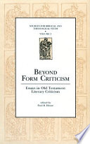Beyond Form Criticism