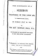 The substance of a sermon     on occasion of the     explosion of the  Red Rover  steam boat Book