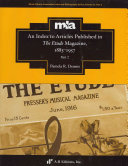 An Index to Articles Published in The Etude Magazine  1883 1957  Part 2