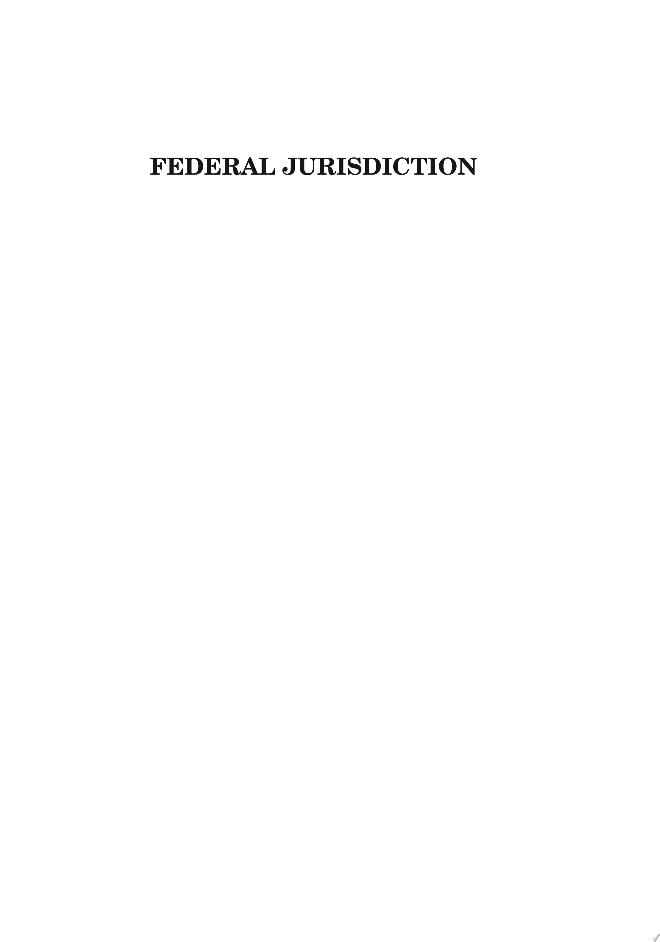 Aspen Student Treatise for Federal Jurisdiction