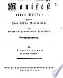 Manifest aller Völker gegen die Französische Revolution