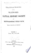Transactions Of The Watford Natural History Society And Hertfordshire Field Club