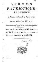 Sermon patriotique prononcé à Morges, le Dimanche 4 février 1798, sur ces paroles