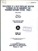 Development of a Solid Propellant Inflation Technique for the Subcompact Car Passenger Restraint System