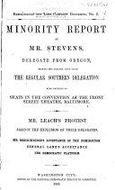 Minority Report of Mr  Stevens  Delegate from Oregon