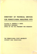 Directory of Technical Services for Pennsylvania Industries