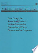 Boot Camps for Juvenile Offenders Book