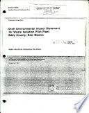 Draft Environmental Impact Statement For Waste Isolation Pilot Plant Eddy County New Mexico
