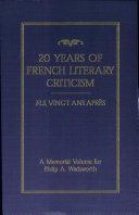 Twenty Years of French Literary Criticism
