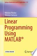 Linear Programming Using MATLAB   Book