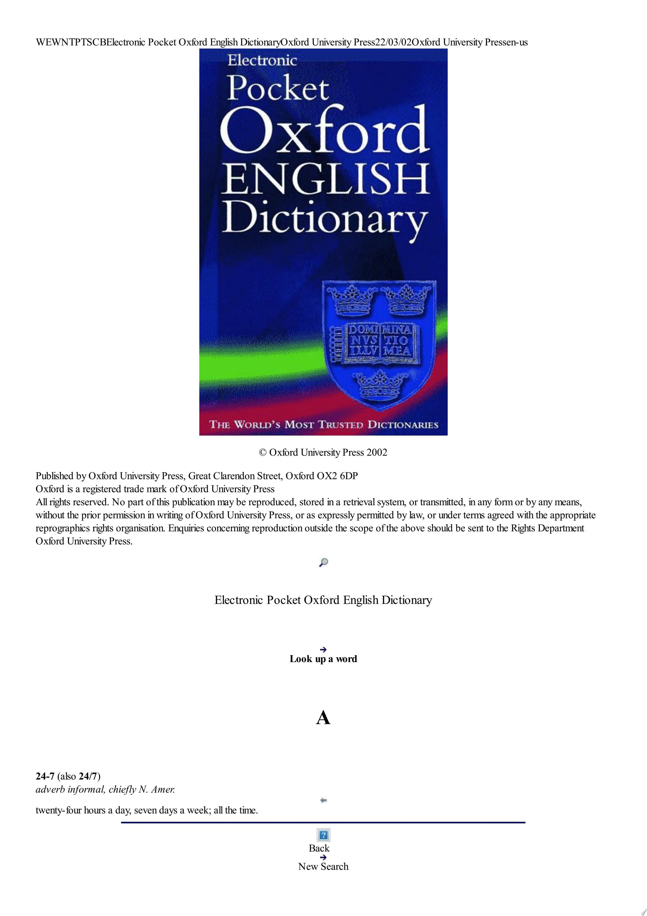 Pocket Oxford English Dictionary  online   Lapis Lazuli  2002