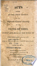 Acts Passed At The Session Of The General Assembly Of The State Of Ohio