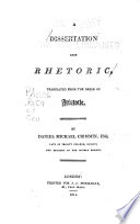 A dissertation upon rhetoric, Rhetoric English
