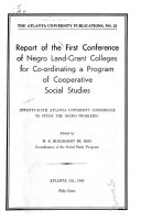 Report of the First Conference of Negro Land grant Colleges for Coordinating a Program of Social Studies Book