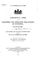 Alphabetical Index of Patentees and Applicants for Patents ...