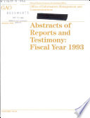 Indexes for Abstracts of Reports and Testimony