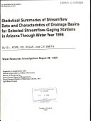 Statistical Summaries of Streamflow Data and Characteristics of Drainage Basins for Selected Streamflow gaging Stations in Arizona Through Water Year 1996