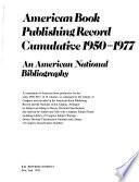 American Book Publishing Record Cumulative 1950-1977