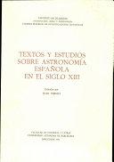 Textos y estudios sobre astronomía española en el siglo XIII