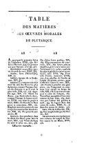Oeuvres de Plutarque: Tables des matières des Oeuvres morales