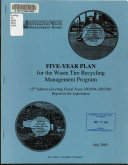 Five-year Plan for the Waste Tire Recycling Management Program Fiscal Years ...