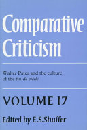 Comparative Criticism  Volume 17  Walter Pater and the Culture of the Fin de Si  cle