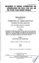 Department of Defense Authorization for Appropriations for Fiscal Year 1993 and the Future Years Defense Program: Manpower and personnel