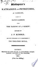 The Taming of the Shrew  or  Catherine and Petruchio     Altered     by David Garrick  etc Book