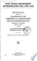 Post Office Department Appropriation Bill for 1949