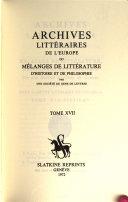Archives Litteraires de l'Europe, ou Melanges de Litterature, d'Histoire et de Philosophie