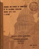 Hearings and Reports of Committees of the California Legislature Book