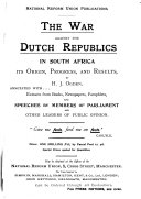 The War Against the Dutch Republics in South Africa