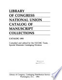National Union Catalog Of Manuscript Collections