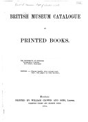 British Museum Catalogue Of Printed Books