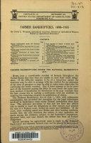 Farmer Bankruptcies  1898 1935
