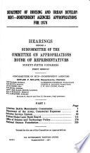 Department of Housing and Urban Development  independent Agencies Appropriations for 1978 Book