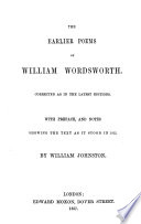 The Earlier Poems of William Wordsworth Book