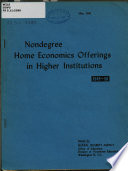 Nondegree Home Economics Offerings in Higher Education  1949 50