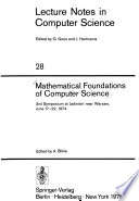 Mathematical Foundations of Computer Science 1976