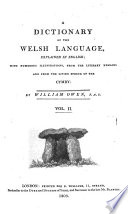 A Dictionary of the Welsh Language  Explained in English Book