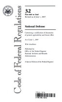Code of Federal Regulations  Title 32  National Defense  Pt  800 End  Revised as of July 1 2007
