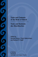 Pdf Texts and Contexts of the Book of Sirach / Texte und Kontexte des Sirachbuches Telecharger