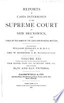 Reports of Cases Decided by the Supreme Court of New Brunswick