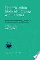 Plant Nutrition     Molecular Biology and Genetics Book
