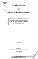 Planning Services for Children of Employed Mothers Book
